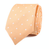 Orange with White Polka Dots Skinny Tie Front Roll