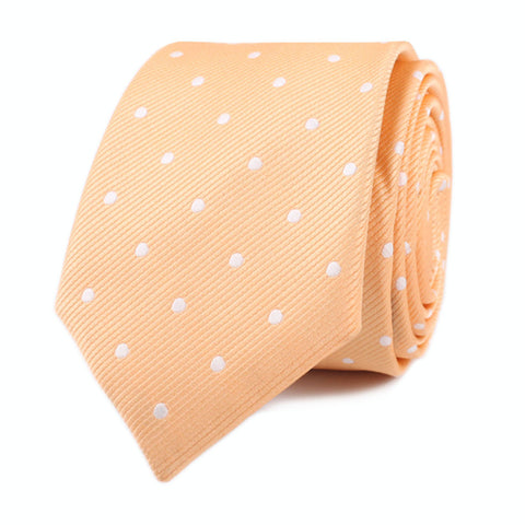 Orange with White Polka Dots Skinny Tie