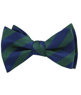 Oxford Blue & Dark Green Striped Self Bow Tie