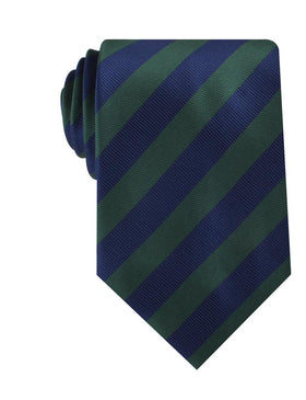 Oxford Blue & Dark Green Striped Necktie