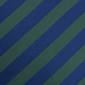 Oxford Blue & Dark Green Striped Pocket Square