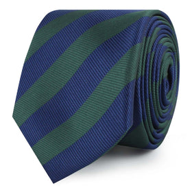 Oxford Blue & Dark Green Striped Skinny Tie