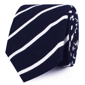 Oxford Blue Pencil Striped Linen Skinny Tie