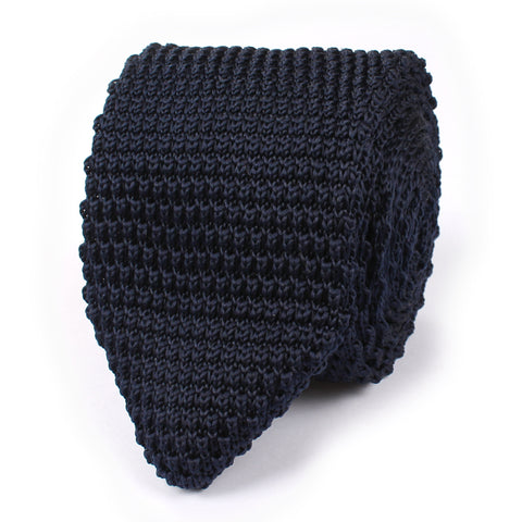 Oxford Navy Blue Pointed Knitted Tie