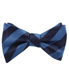Oxford & Steel Blue Striped Self Bow Tie