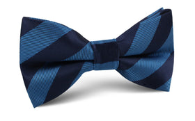 Oxford & Steel Blue Striped Bow Tie