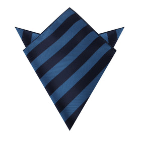 Oxford & Steel Blue Striped Pocket Square