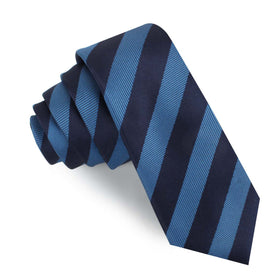 Oxford & Steel Blue Striped Skinny Tie