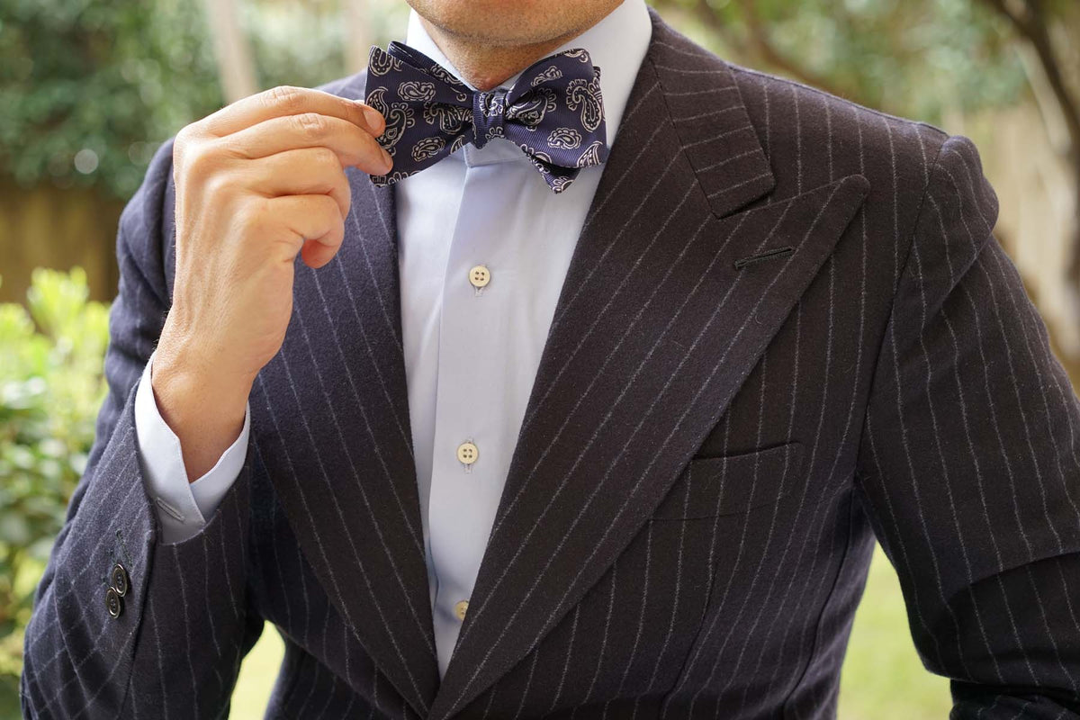 Paisley Navy Blue - Bow Tie (Untied)