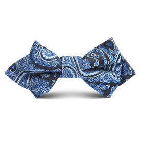 Paisley Black & Blue Kids Diamond Bow Tie