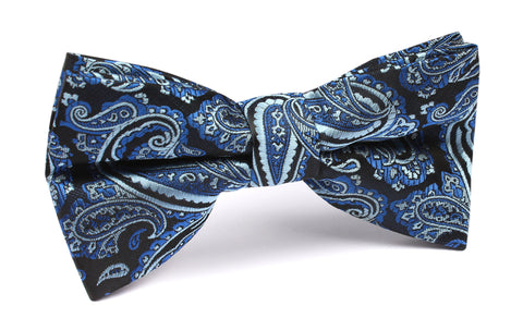 Paisley Black and Blue Bow Tie