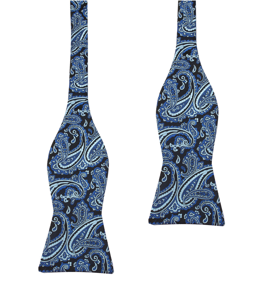 Paisley Black and Blue Bow Tie Untied