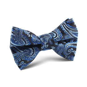 Paisley Black and Blue Kids Bow Tie