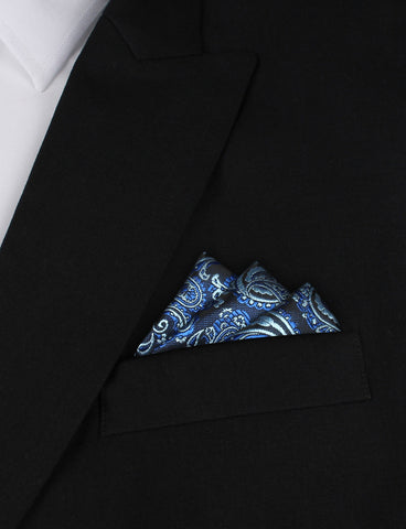Paisley Black and Blue Pocket Square