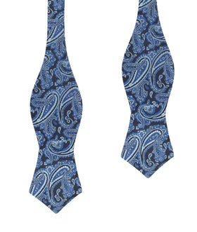 Paisley Black and Blue Self Tie Diamond Tip Bow Tie