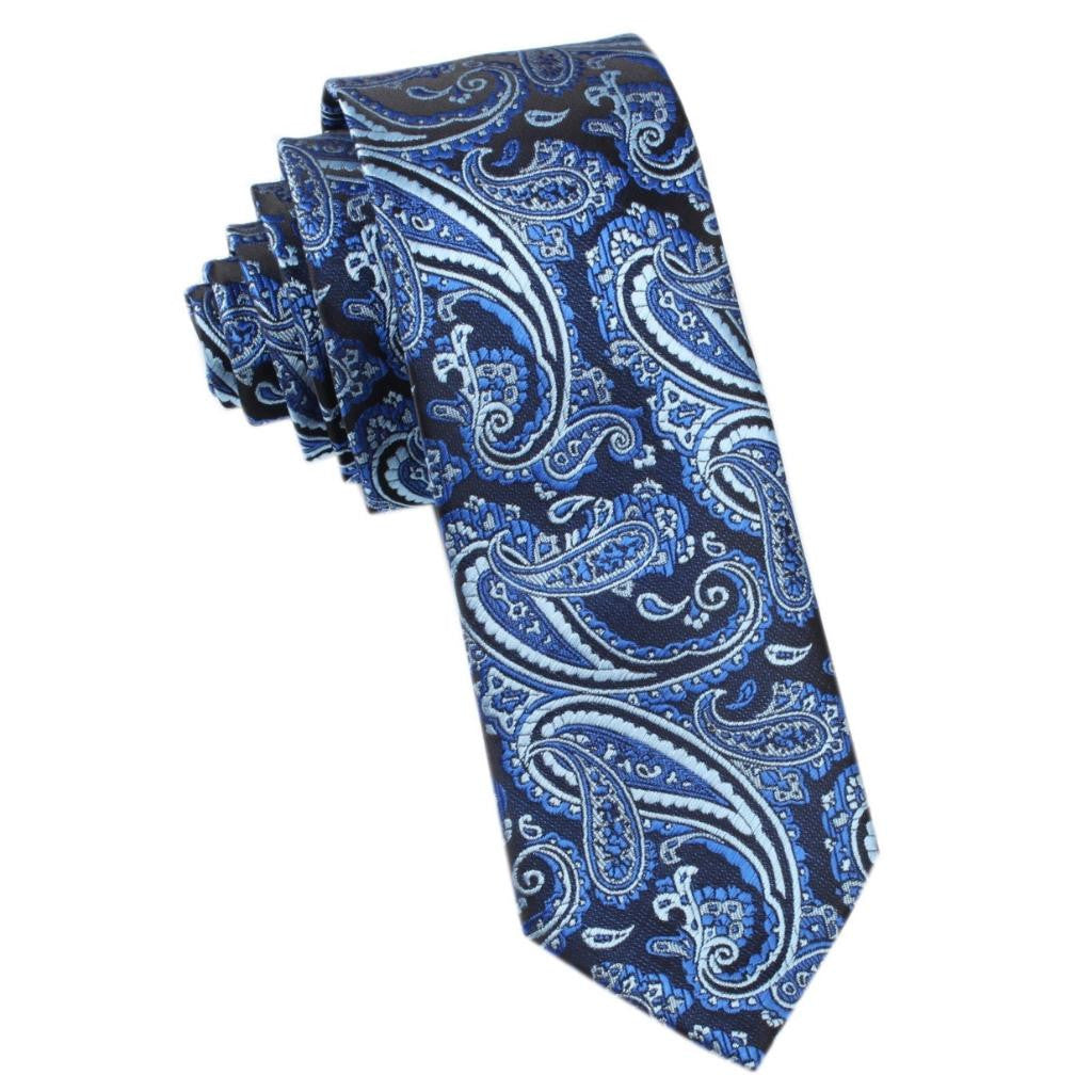 Paisley Black and Blue Skinny Tie