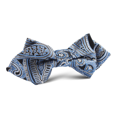 Paisley Blue Diamond Bow Tie