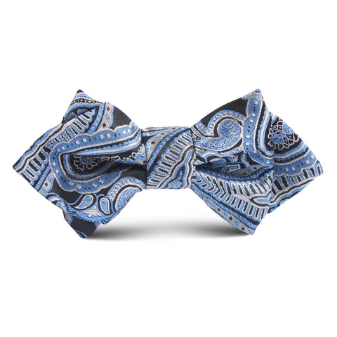 Paisley Blue Kids Diamond Bow Tie