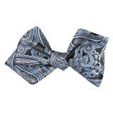 Paisley Blue Self Tie Diamond Tip Bow Tie 3
