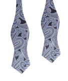 Paisley Blue Self Tie Diamond Tip Bow Tie