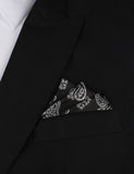 Paisley Coal Black Oxygen Three Point Pocket Square Fold