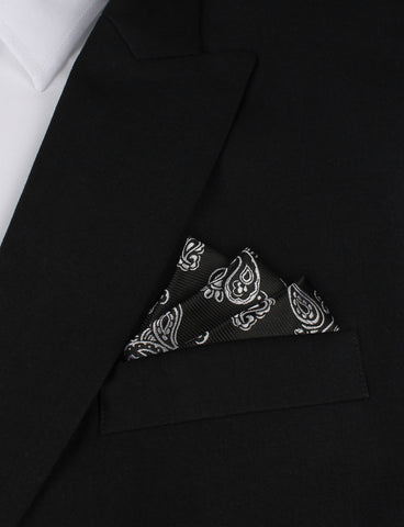 Paisley Coal Black Pocket Square