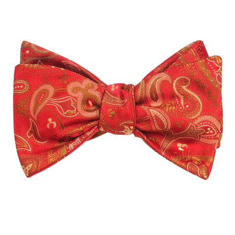 Paisley Maroon with Brown Bow Tie Untied