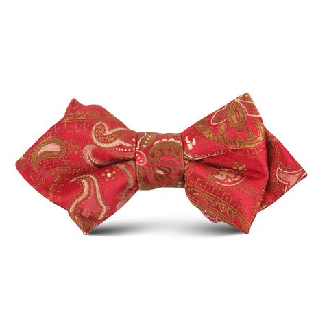 Paisley Maroon with Brown Kids Diamond Bow Tie