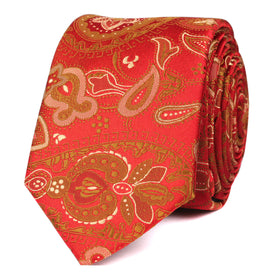 Paisley Maroon with Brown Skinny Tie