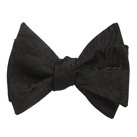 Paisley Midnight Black Self Tie Bow Tie