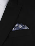 Paisley Navy Blue - Oxygen Three Point Pocket Square Fold