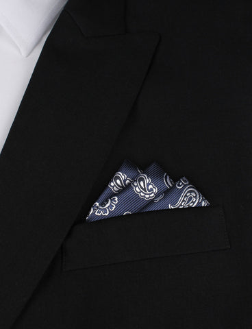 Paisley Navy Blue - Pocket Square