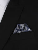 Paisley Navy Blue - Winged Puff Pocket Square Fold