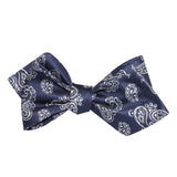 Paisley Navy Blue Self Tie Diamond Tip Bow Tie 2