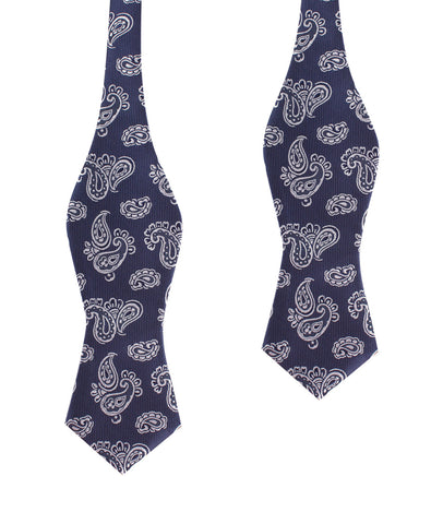 Paisley Navy Blue Self Tie Diamond Tip Bow Tie