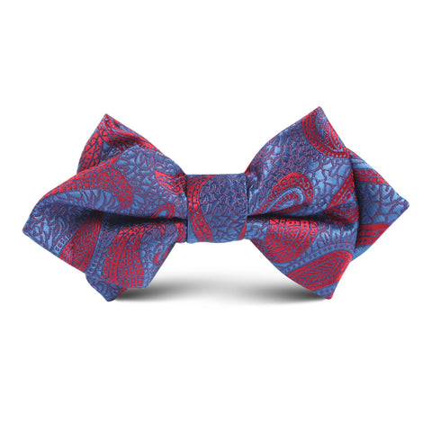 Paisley Purple Kids Diamond Bow Tie