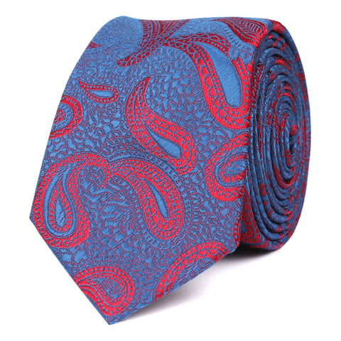 Paisley Purple and Red - Skinny Tie