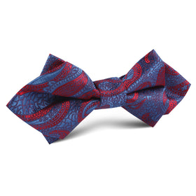 Paisley Purple and Red Diamond Bow Tie