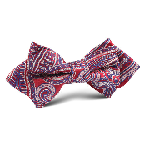 Paisley Red Diamond Bow Tie