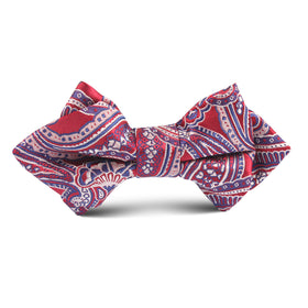 Paisley Red Kids Diamond Bow Tie