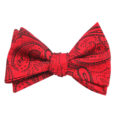 Paisley Red Maroon with Black - Bow Tie (Untied)