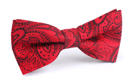 Paisley Red Maroon with Black Bow Tie OTAA