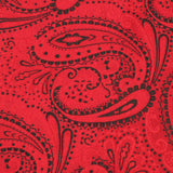 Paisley Red Maroon with Black Fabric Pocket Square X016