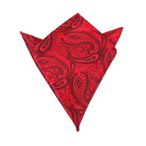 Paisley Red Maroon with Black - Pocket Square