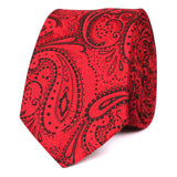 Paisley Red Maroon with Black Skinny Tie OTAA roll