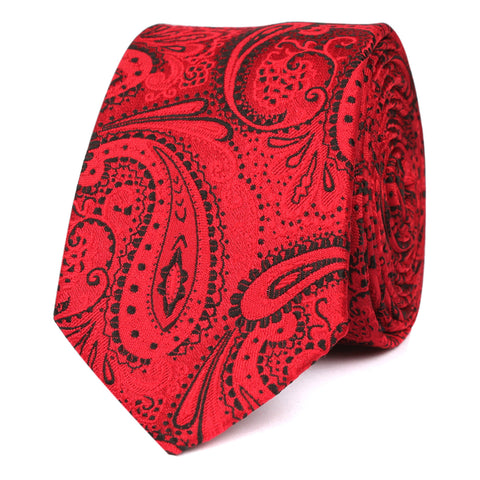 Paisley Red Maroon with Black Skinny Tie