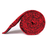 Paisley Red Maroon with Black Skinny Tie Side Roll