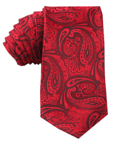 Paisley Red Maroon with Black Tie
