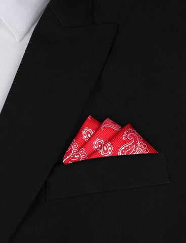 Paisley Red Pocket Square