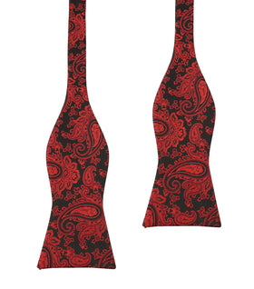 Paisley Red and Black Bow Tie Untied